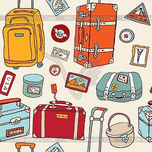 Путешествие бесшовного фона. Чемоданы и сумки - изображение в векторе
