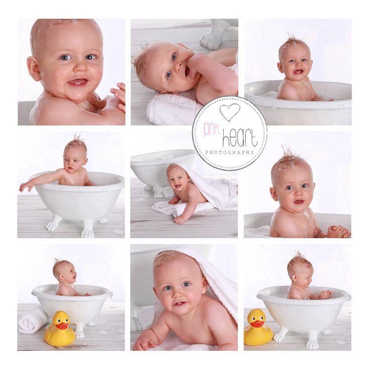 Bath splash session at the Launceston studio taken in the baby's first year program .