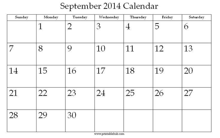 september 2014 calendar printable | September 2014 Printable Calendar | Printable Hub