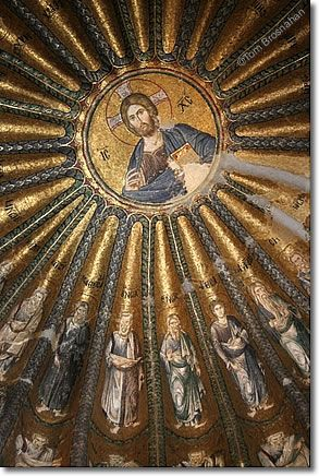 "The remarkable Christ Pantocrator mosaic, dome of Saint Savior in Chora Church, Kariye Muzesi, Istanbul, Turkey. The original church on this site was built in the early 5th century right at the commencement of the Eastern Roman Empire or Byzantium. The interior of this church is ""to die for"", pun intended. In Isty, amazingly you will find some of the most gorgeous churches in the world, there since antiquity of course."