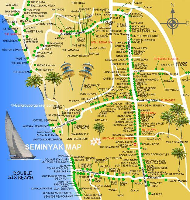 Bali - map of Seminyak (BaliGroupOrganizer)