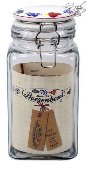 weckpot vierkant 1,7 liter met keramiek deksel  boerenbont