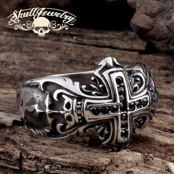 'Agnus Dei' - 'the Lamb of God, symbolizes the sacrifice and the victory of Christ' Ring Black Zircon Gemstones