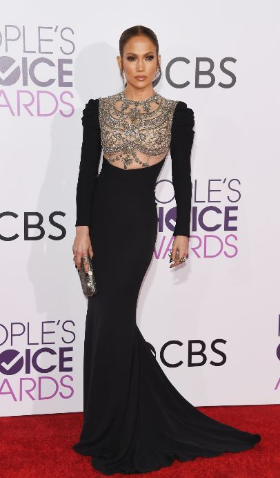 J.Lo worked the People's Choice Awards red carpet in a gorgeous high-neck Reem Acra gown with crystal detailing.