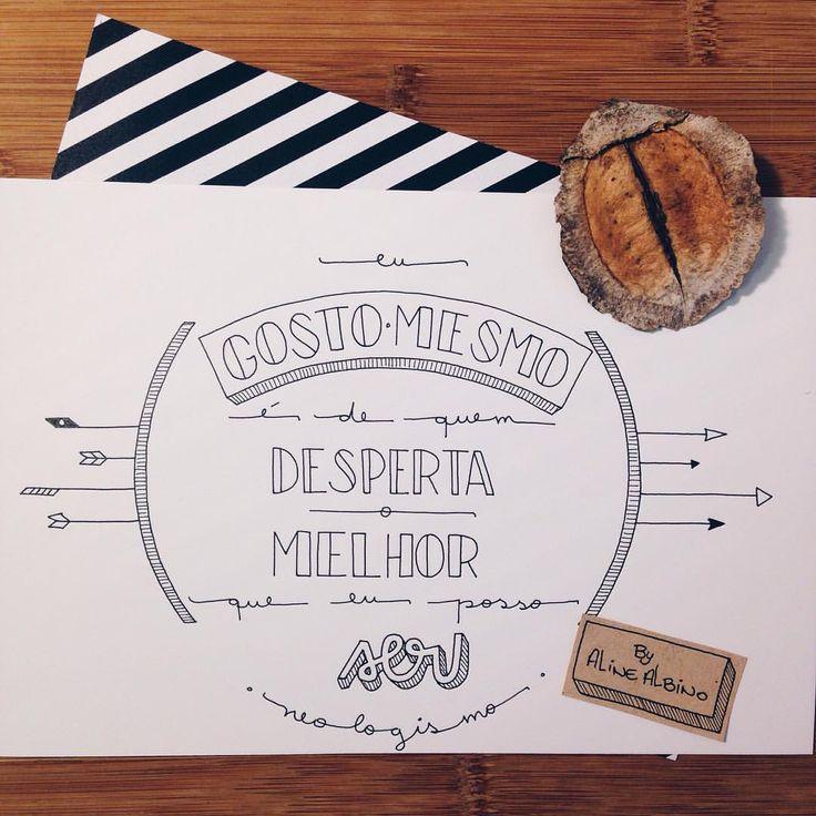 """Começando o ano com frase do @neologismos ❤️ . """"Eu gosto mesmo é de quem desperta o melhor que eu posso ser."""" - Matheus Rocha.  #typespire #goodtype #thedailytype #thedesigntip #handlettering #lettering #typography #calligraphy #typeveryday #handmadefont #typoholic #creativity #letter #words #design #handmade #byalinealbino #neologismo"""