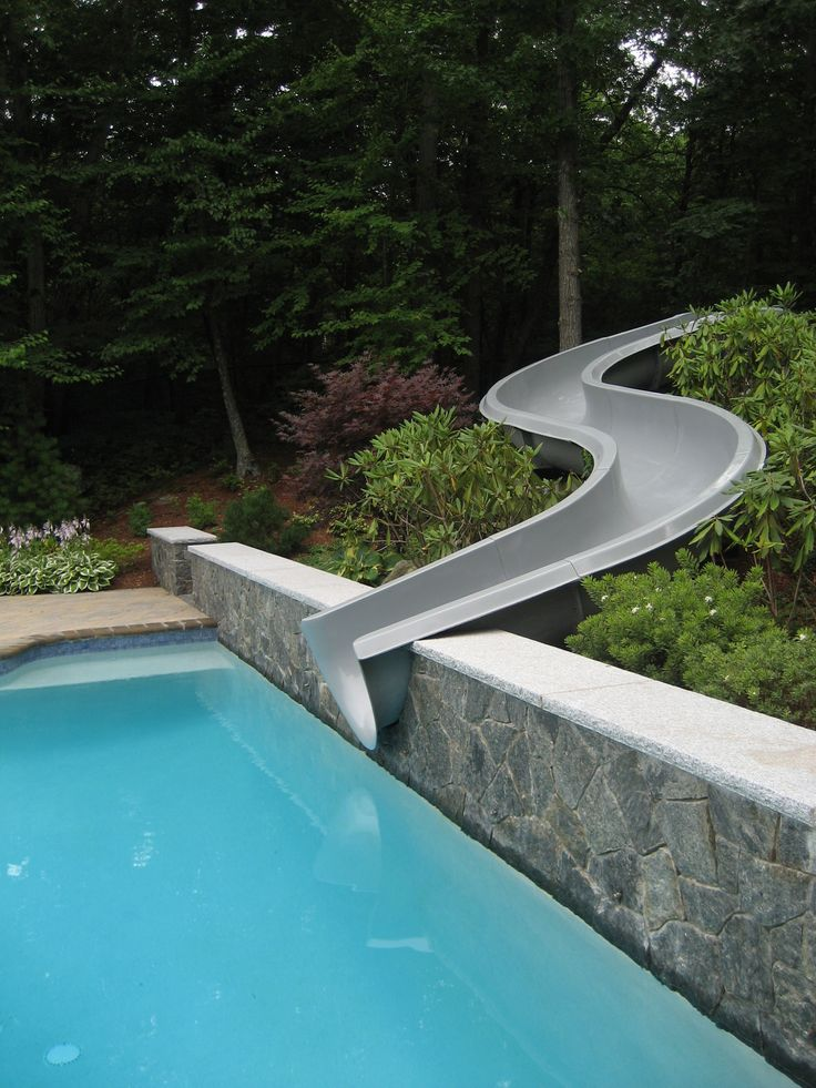 Swimming Pool Slide Ideas built in swimming pool slides custom waterfall and slide all rock was hand laid Find This Pin And More On Pool Ideas Swimming