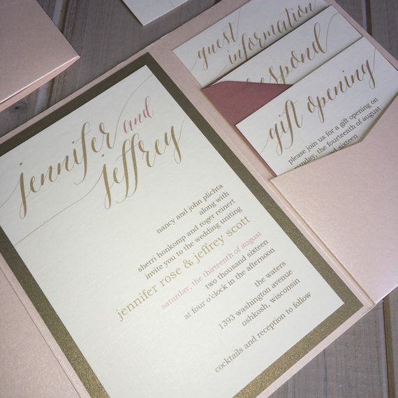 blush gold and ivory wedding invitations by inspirationidodesign - Ivory Wedding Invitations