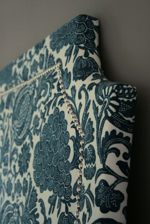 20 DIY Headboards. Gorgeous fabric and detail! I have an upholstered headboard