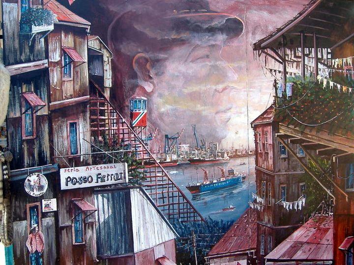 Mural de Valparaiso y Neruda
