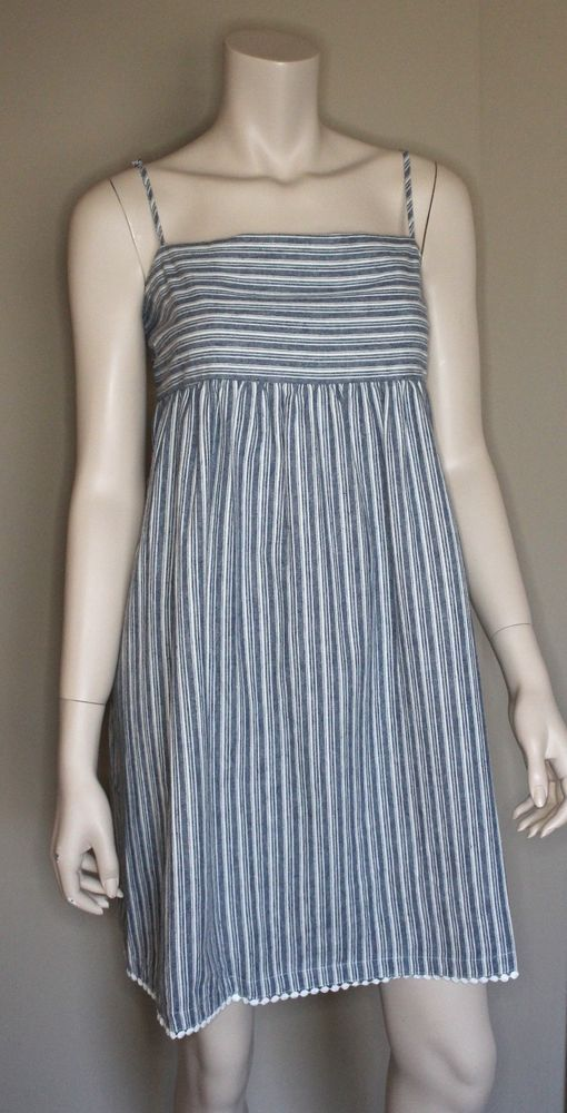 Chambray Striped Dress Sun Babydoll Size Large Cotton Linen Copperkey