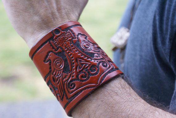Leather Wristband Celtic -Thors Hammer-Leather Wristband- Ravens Wristband…