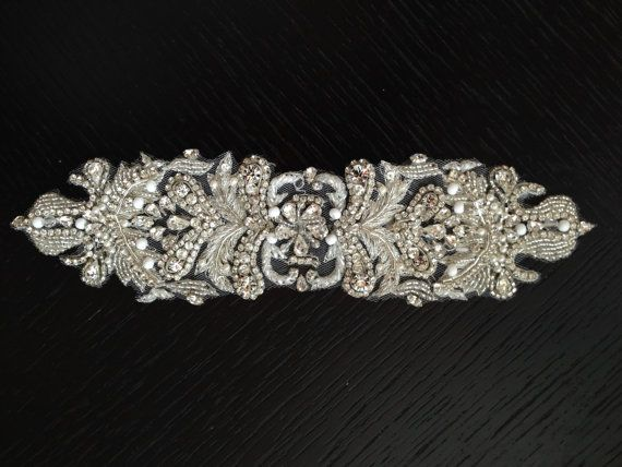 Beaded rhinestone applique, beaded with pearls and rhinestones, garment accessories, Bridal sash appliqué, satin sash applique, bridal belt
