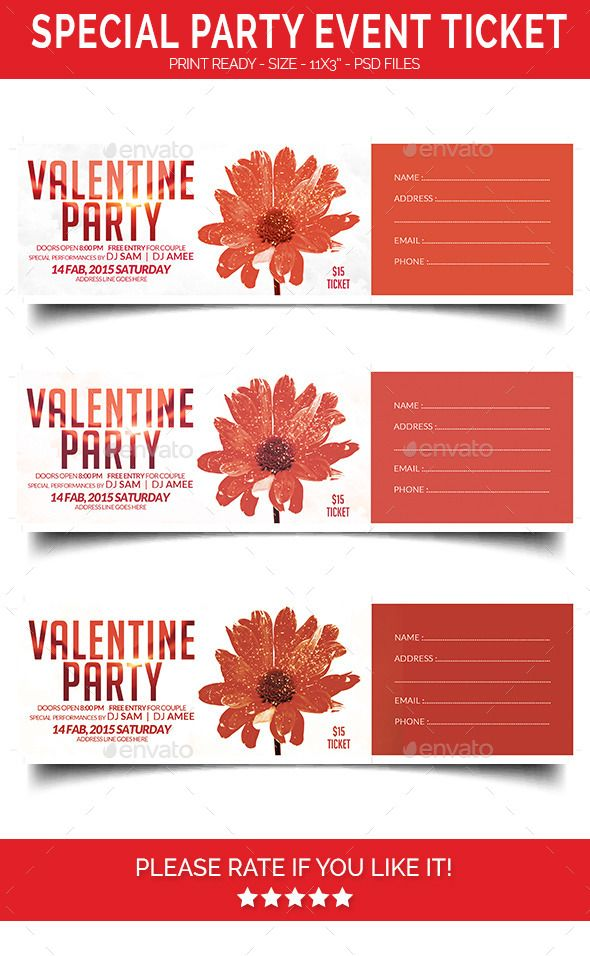 Special Party Event TicketSpecial Party Event Ticket Print dimensions:11¡± x 3¡±Features:Easy editable text CMYK @ 300 DPI ¨C Print-r