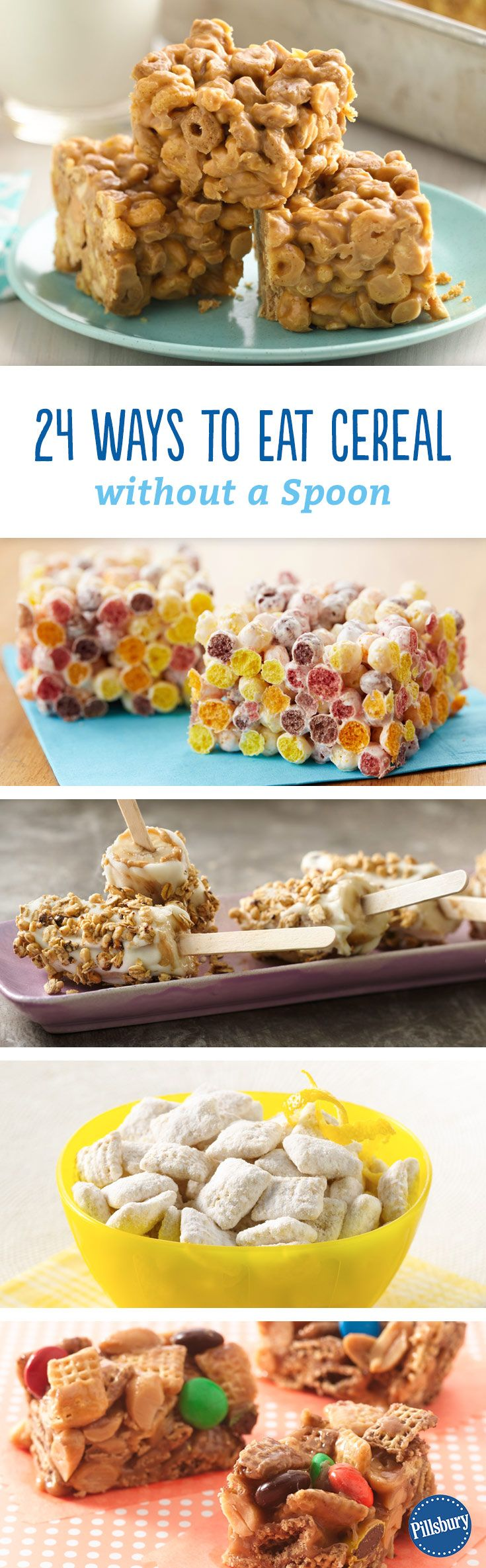 24 Ways to Eat Cereal Without a Spoon: Cereal is delicious no matter how you eat it, but it's even more fun when it's baked into bars, blended into smoothies and everything in between.