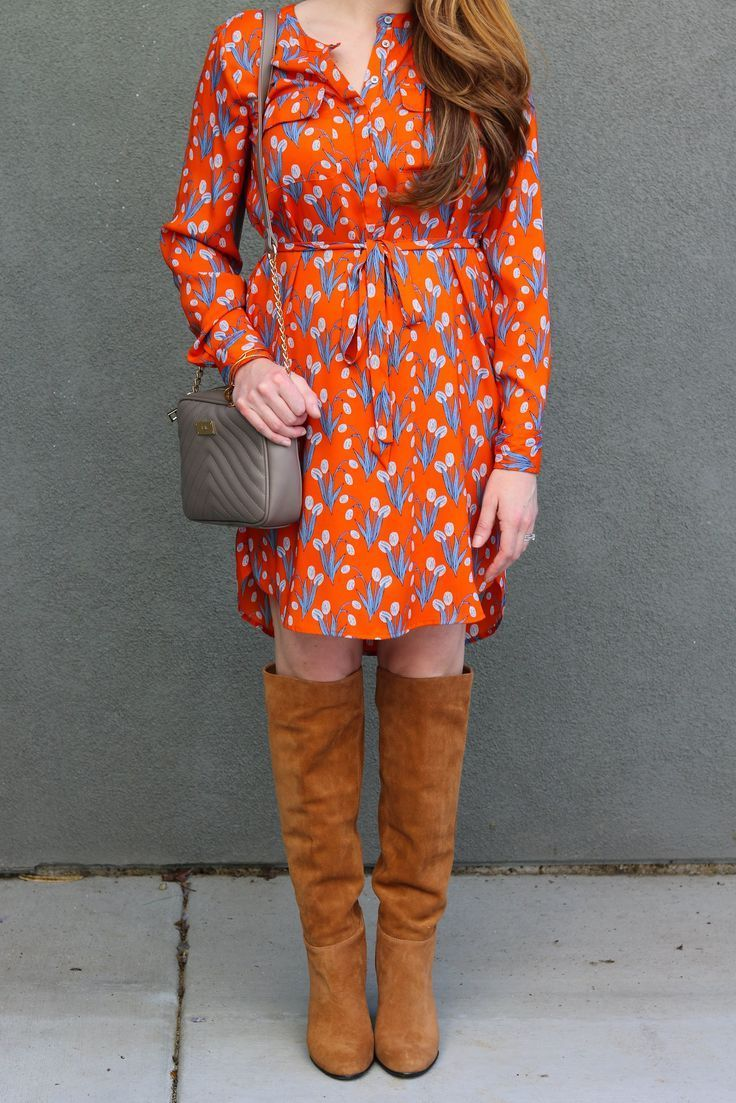 floral dress, over the knee boots, orange dress, spring style, fall style, outfit inspiration