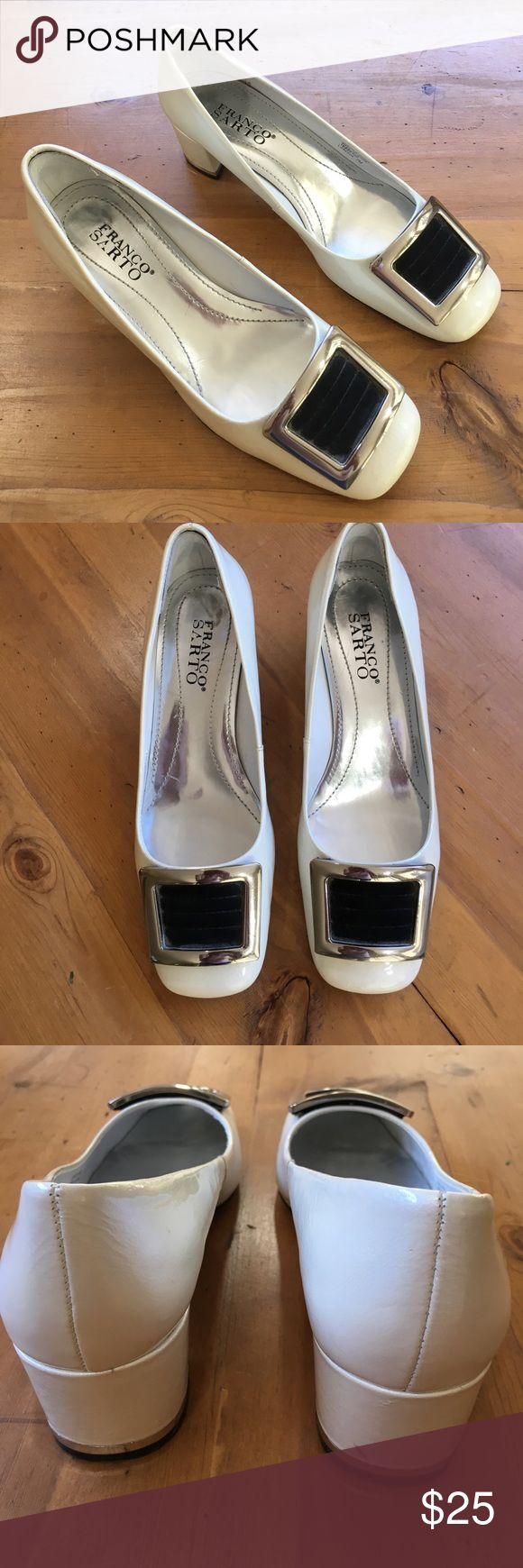 Franco Sarto Patten Leather Off White Shoe Great condition off white in color upper patent leather size 7 silver buckle accent black brown leather velvet in buckle silver accent in heel one small scuff on heel see pic 2 inch heel super cute comfortable love the shoes💕 Franco Sarto Shoes