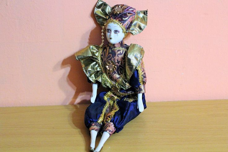 Porcelain Pierrot Clown Doll, Ceramic Clown Figurine, Blue Gold Outfit Costume by Grandchildattic on Etsy