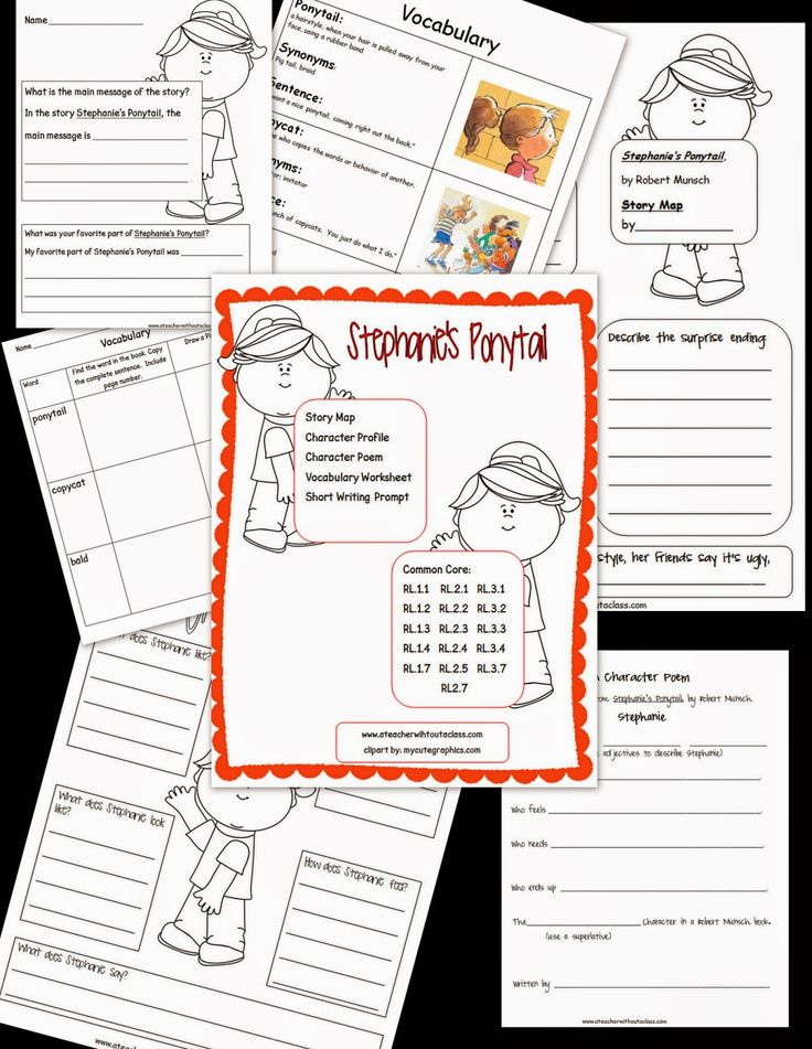 Comprehension Packet for Robert Munsch's Stephanie's Ponytail. Included: Story map, Character Profile, Character Poem, Vocaburlary Worksheet and a short writing prompt. Common Core aligned! $2.00 at TPT.
