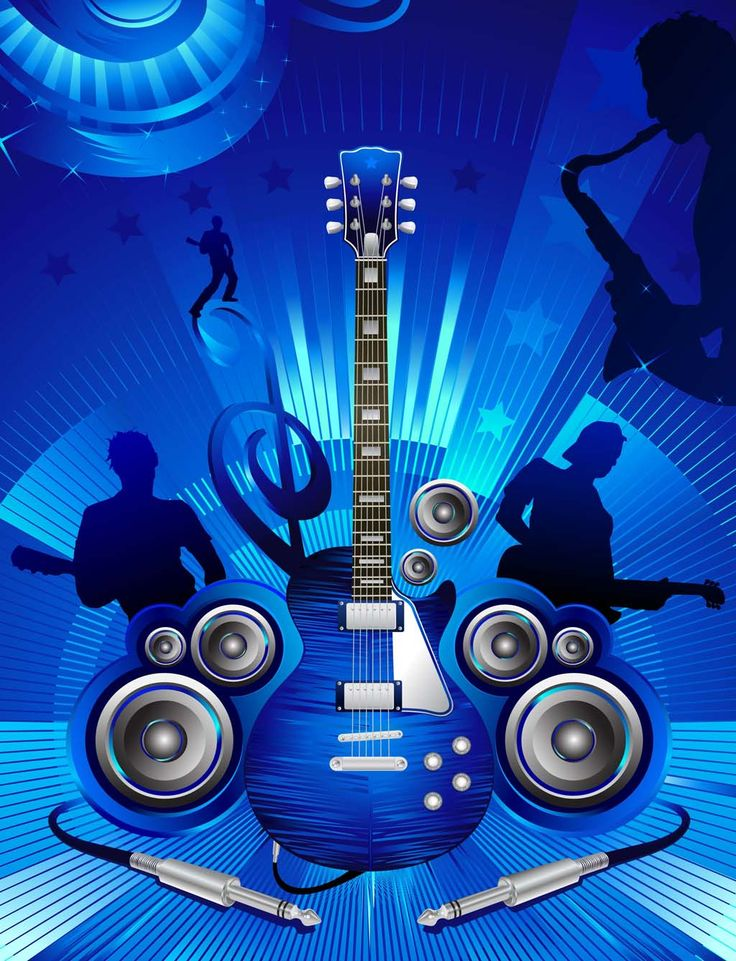 Are you ready to rock the show? Download free concert vector graphics with sax player, bass and guitar players, detailed electric guitar, music speakers and sound cable plugs on graphic radiant blue background with stars, stripes and light effects. Cool concert vector for your music stock footage collection. Concert graphics by VectorOpenStock.com