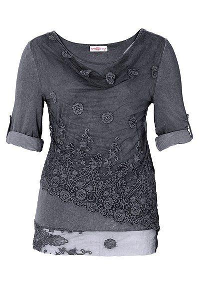 sheego Style Spitzenshirt in Lagenlook - stahlgrau