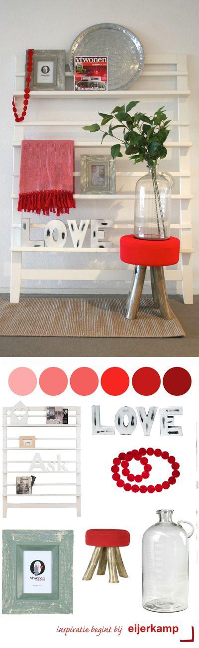 Rood, de kleur van de liefde! Het zorgt voor warmte, gezelligheid en sfeer in huis. Het is echter ook een kleur die veel energie geeft en aandacht vraagt. Wees daarom spaarzaam met het gebruik van roodtinten in je slaapkamer. <3 Eijerkamp