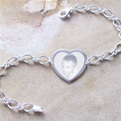 Photo Bracelet in solid 925 Sterling Silver.  An elegant silver bracelet custom engraved with a photo using the very latest engraving technology.
