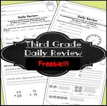 Morning Work Third Grade Free 3rd Grade Freebie 3rd And 4th