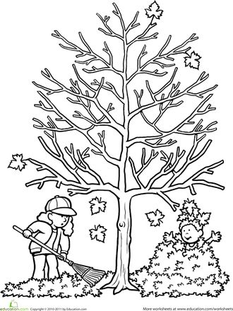 Worksheets: Autumn Tree Coloring Page. Idea for Lily's family tree project in school.