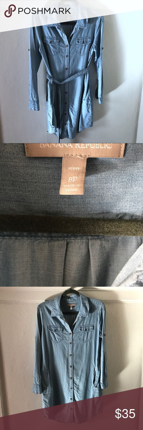BANANA REPUBLIC Denim Dress BANANA REPUBLIC Classic Button Up Denim Dress - Size 8 Petite - Long sleeved but can be rolled up for wear year round - can also be worn with or without the tie waist belt. - Dress has pockets which is the best. Banana Republic Dresses