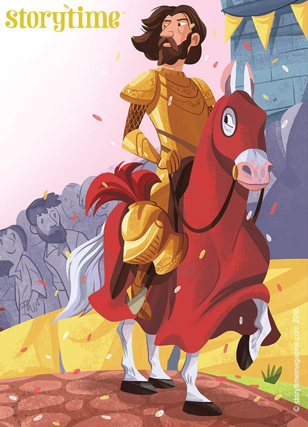A magnificent St George arrives to fight the Reluctant Dragon in Storytime 25! Amazing art, as ever, by @meldraws ~ STORYTIMEMAGAZINE.COM
