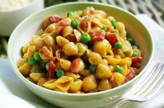 Gino D'Acampo's pasta with peas, ham and eggs The kids will love this tasty little shell pasta recipe packed with ham and healthy peas. Gino D'Acampo says that frozen peas are great in this family pasta recipe