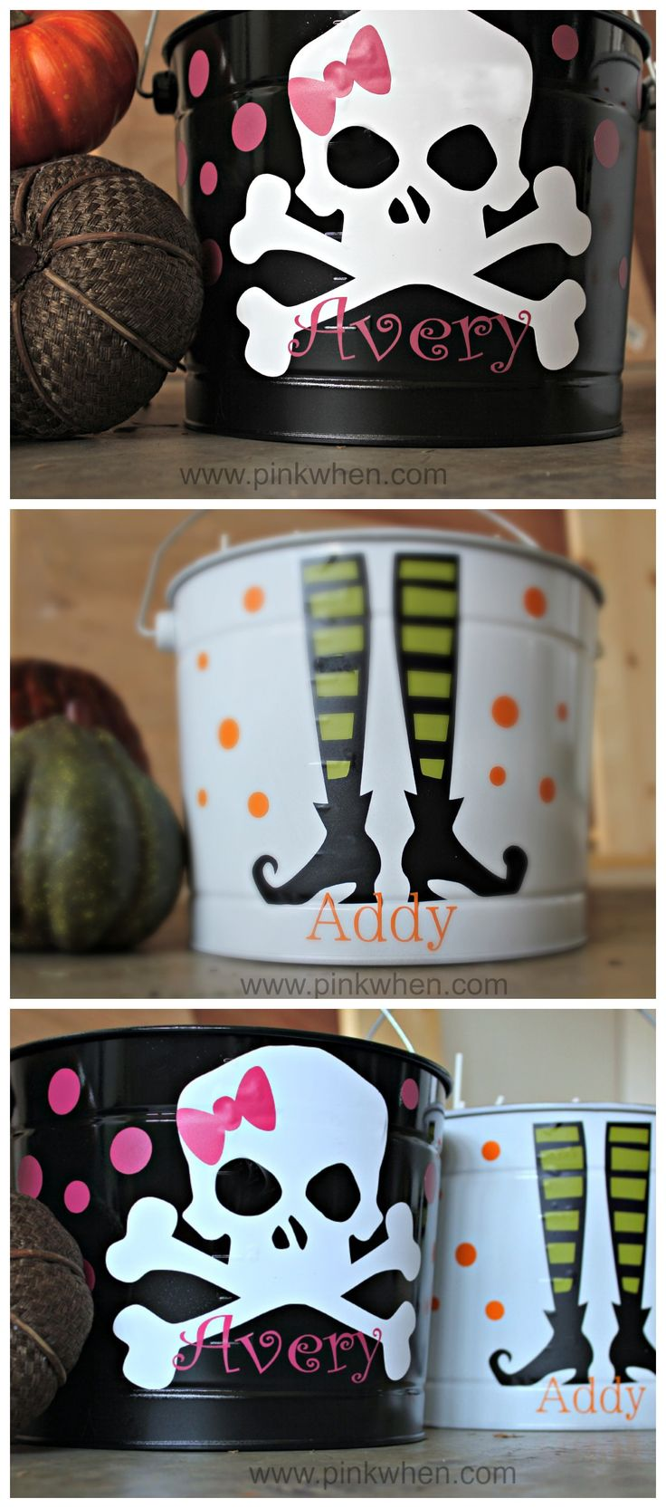 easy to make diy trick or treat buckets with vinyl - Halloween Trick Ideas