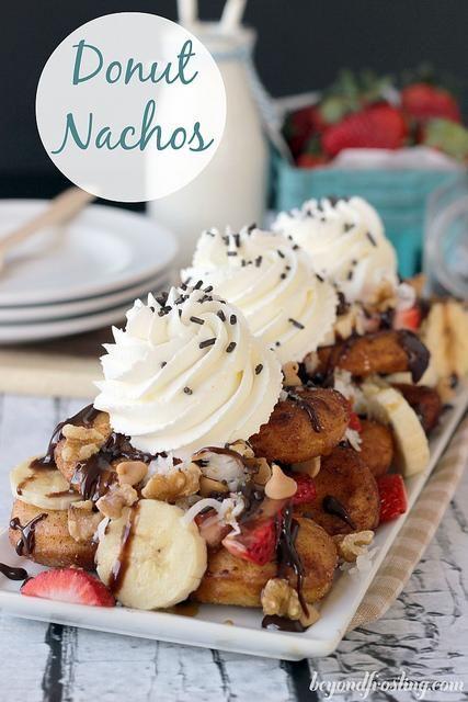 Donut Dessert Nachos   beyondfrosing.com   #donut #nachos