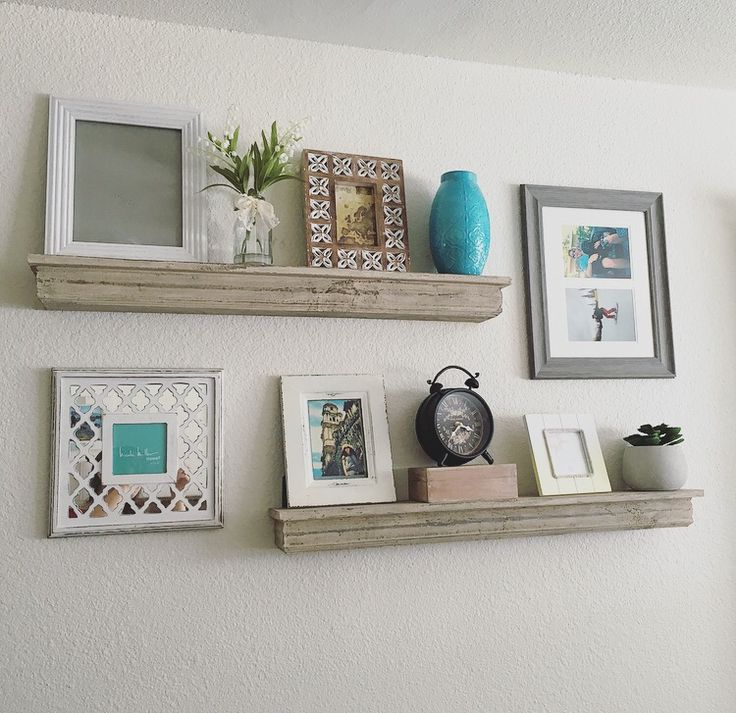 Floating shelves my pins pinterest house for Gallery wall shelves
