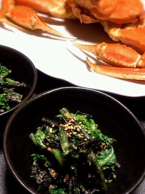 実家の近くの野菜直売所で、紅菜苔(コウサイタイ)というお野菜を初めて見て買ってみました★ 紫色の菜の花みたいな感じなのですが、ゆがいて絞ると綺麗な紫色の汁が出て、深めの緑色に変化しましたーっ(・∀・)  マヨネーズと醤油で食べると美味しいと書いてあったので、菜の花と半々にしておかかマヨネーズで和えてみました(*´∀`*)  背景をカニにすると豪華に見えるマジックww - 19件のもぐもぐ - 菜の花と紅菜苔のおかかマヨネーズ和え♫ by ゆきこ