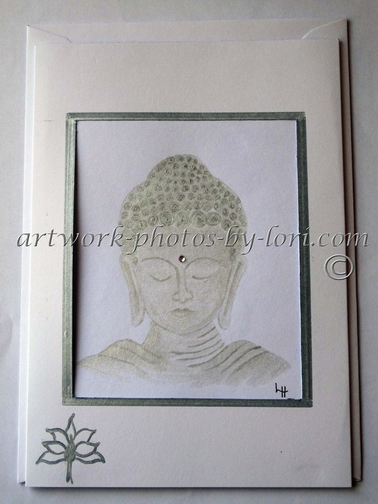 hand painted notelet buddha in silver paint with glass bead feature
