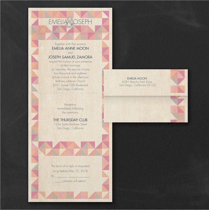 Rustic Geometric Rosewood Seal U0027n Send Wedding Invitation