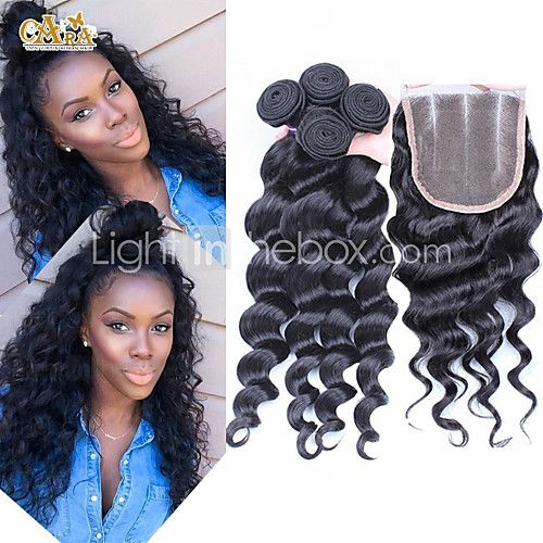 4Pcs/Lot 10''-30'' Peruvian Virgin Hair Loose Wave Hair Closure with Wefts Peruvian Loose Wave Hair Bundles - USD $97.92