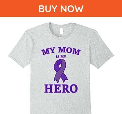 Mens Pancreatic Cancer Awareness Shirts - My Mom is My Hero Large Heather Grey - Relatives and family shirts (*Amazon Partner-Link)