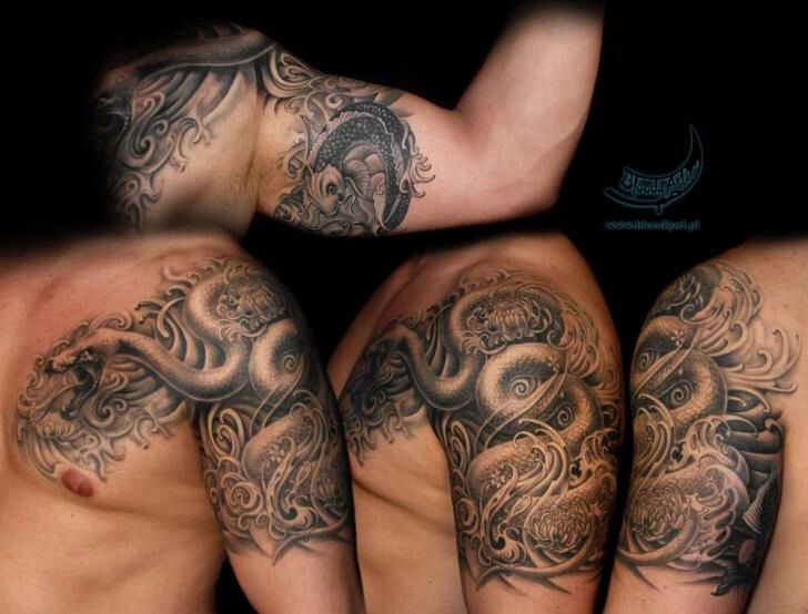 black and grey serpent wrap around shoulder chest tattoo quotes tattoo ideas pinterest. Black Bedroom Furniture Sets. Home Design Ideas