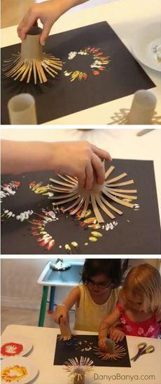 Malen mit Klopapier rolle