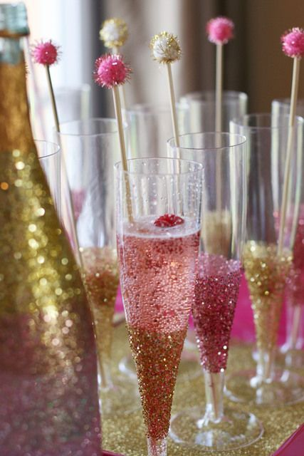 Sparkly pink and gold cocktails and drinks