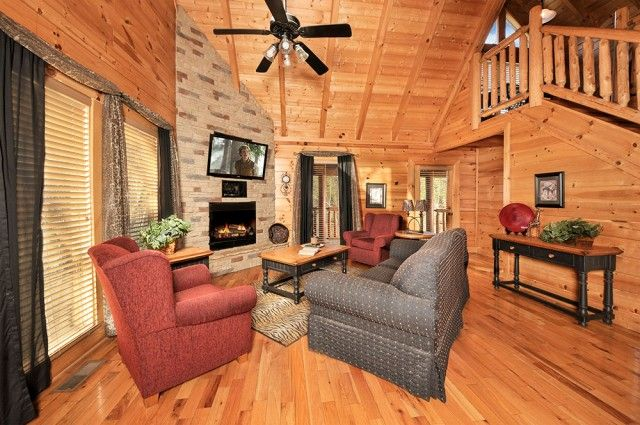 Wild Adventures -- Come relax in the leopard living room while gazing at the warm, cozy, stack stoned gas fireplace.