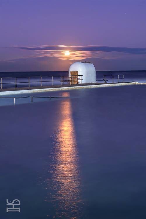 Golden Moonrise over Merewether Ocean Baths