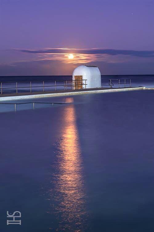 Golden Moonrise over Merewether Ocean Baths