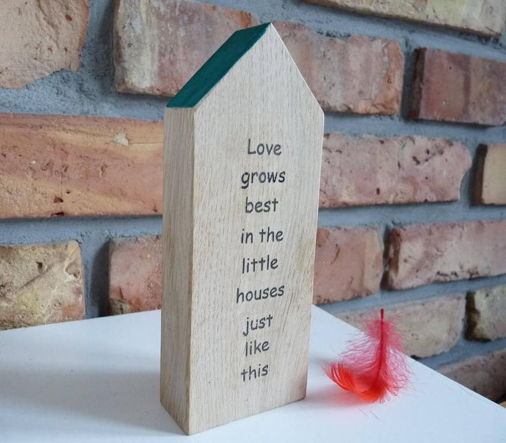 Love grows best in the little houses just like this woodhouse, handmade wooden home, wooden decorations, message houses, wooden love gifts by nkcraftstudio on Etsy