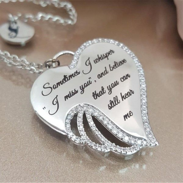 Heart Locket Pendant Silver Quote Pendant Word Pendant I CARRY YOUR HEART Charm