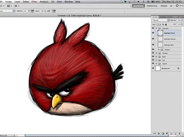 awesomeA Simple Way To Make Digital Painting Angry Birds #psd #tutorial #photoshop #graphic design by - www.psd5.com