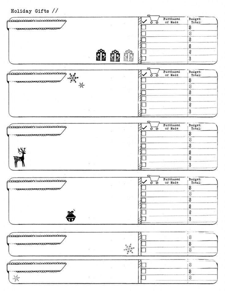 Holiday Gifts Template On Http://ahhh Design.com #diyplanner #