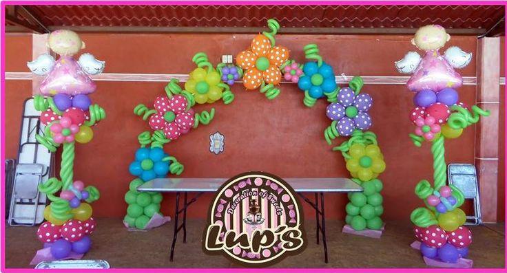 Bautizo decoraciones de globos pinterest for Decoracion bautizo en jardin